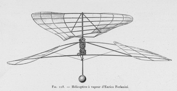 The steam-powered helicopter project of Italian inventor Enrico Forlanini