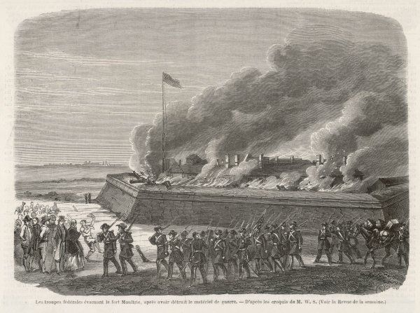 Fort Moultrie, in Charleston harbour, is evacuated by its Union garrison : before leaving they destroy anything that could be useful to the enemy