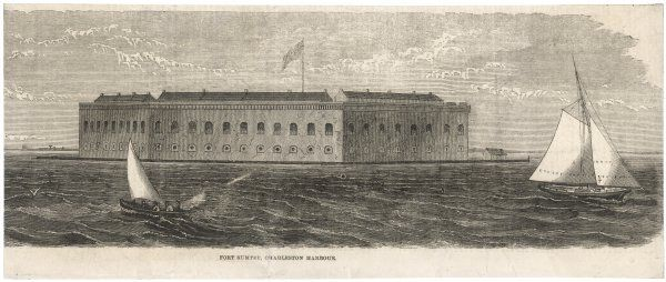 War commences when secessionists bombard Fort Sumter (seen here before hostilities) which commands the entrance to Charleston harbour, South Carolina