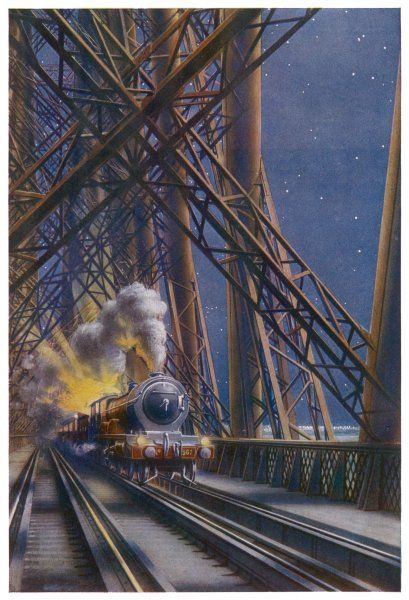 A passenger train can cross the Forth Bridge while maintaining a speed of 90 km/h. Completed in 1890, it is one of the engineering triumphs of its time