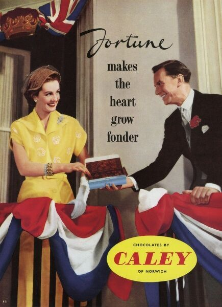 Advertisement for Fortune chocolates by Caley of Norwich, whose adverts were always characterised by a couple sharing a box. This time, the pair are on a balcony, festooned with flags and decorations for the Coronation of Queen Elizabeth II in 1953