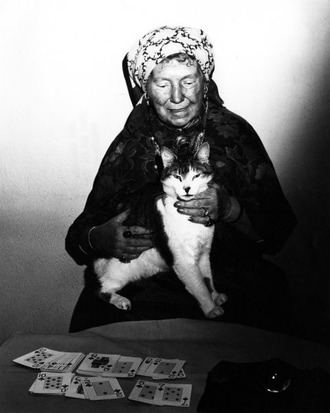 A sinister gipsy woman and her scary cat, reading someone's fortune with playing cards... Date: 1970s