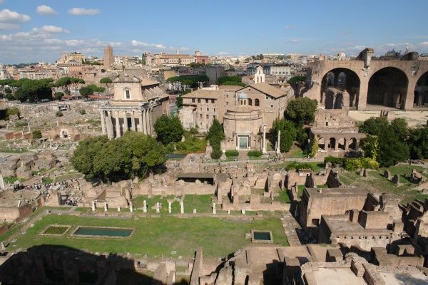 View of the Roman Forum, or Forum Romanum, in Rome, Italy. This was the central area around which the ancient Roman civilization developed, serving as a city square where the people gathered for legal, political, religious and financial purposes