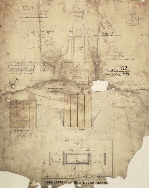 Foundation for a 30 cwt steam hammer, plan, front elevation and details Date