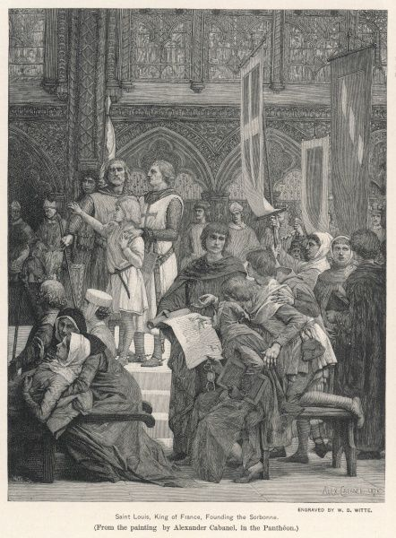King Louis IX, King of France, founding the Sorbonne