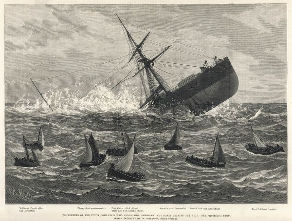 This image depicts the loss of the steam ship American which sunk near Cape Palmas on 23rd April 1880