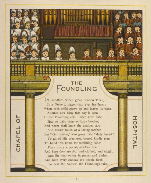 Boys and girls of the Foundling Hospital, London, singing in the organ loft in the hospital's chapel ; they are a popular tourist attraction