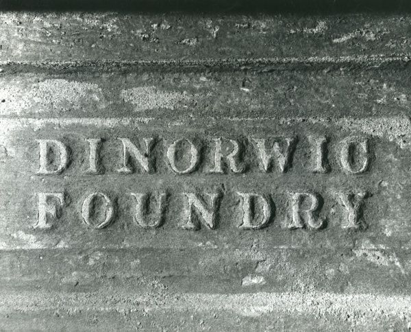 A foundry mark in the blacksmith's shop at Dinorwig (or Dinorwic) Slate Quarry, near Llanberis, North Wales