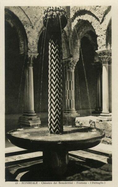 A superb photograph of the Fountain, set in the middle of the Norman Cloister at the Cathedral of Monreale, Sicily. The Cathedral is one of the greatest extant examples of Norman architecture in the world. It was begun in 1174 by William II