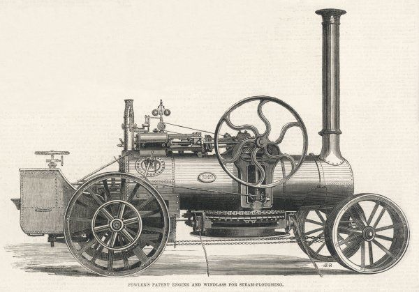 Fowler's patent engine and windlass for steam-ploughing