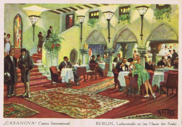 The foyer bar of the Casanova Casino International at 22 Lutherstrasse, in the Scala Theatre Complex, Berlin, late 1920s. One of Berlin's premier nightspots featuring a ballroom, cabaret, restaurant and bar. Date: late 1920s