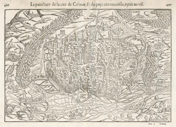 Colmar, Alsace: A detailed map of the city & environs including the surrounding villages & local gallows complete with hanged felons