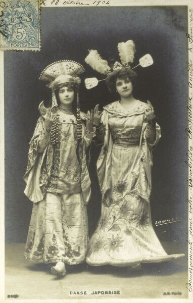 France - French Women perform a Japanese Dance, wearing a very Euro-centric interpretation of Japanese costume. Date: circa 1904