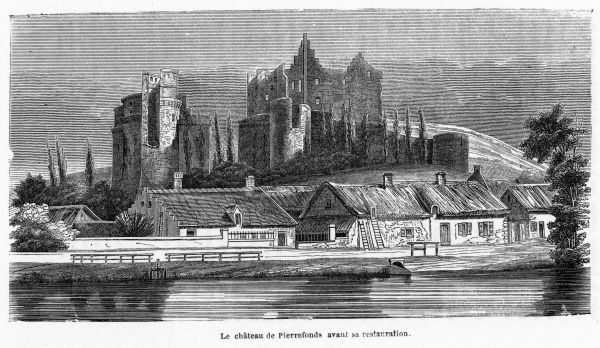 The chateau de Pierrefonds, in Picardie, before its restoration by Viollet-le-duc