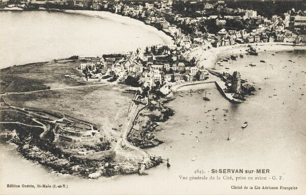 France - St Servan-sur-Mer - aerial view of the town taken from an aeroplane
