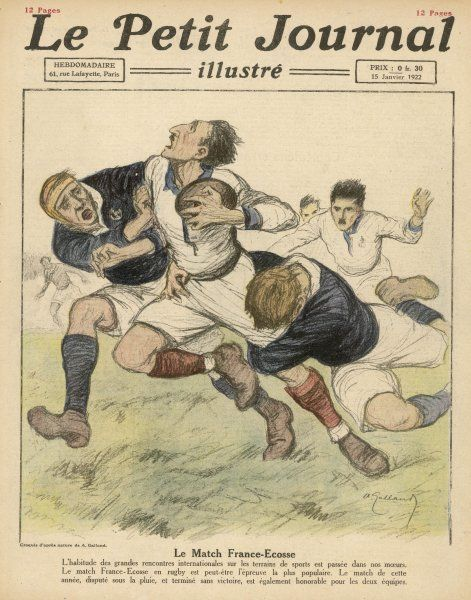 A Scottish player is tackled by a pair of Frenchmen. The match finished in a draw at 3- 3
