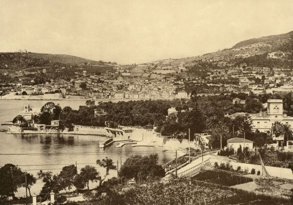 The picturesque fishing port of Villefranche on the Cote d'Azur is now a popular tourist resort. Date: 1919