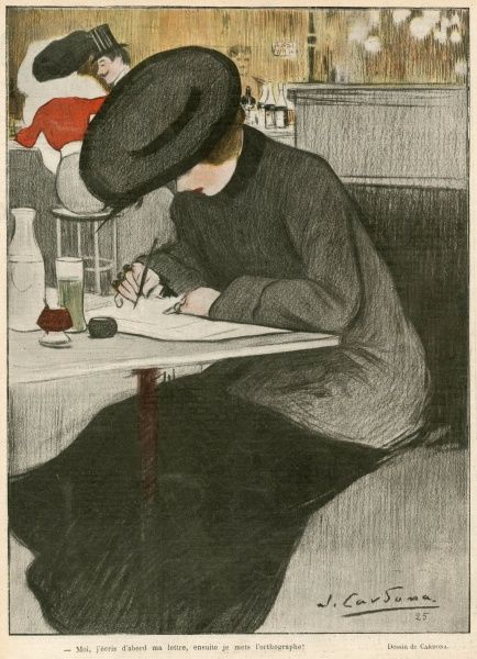 A woman writes a letter at a table in a cafe