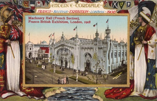 Machinery Hall (French Section) - Franco-British Exhibition, White City, Shepherd's Bush, London, 1908. Date: 1908