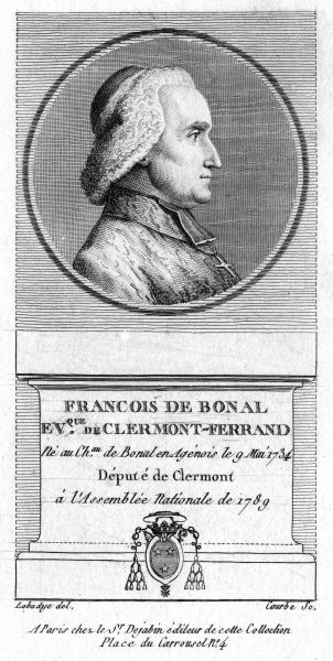FRANCOIS DE BONAL French churchman, bishop of Clermont-Ferrand and depute to the Assemblee Nationale, 1789. Date: 1734 - 1800