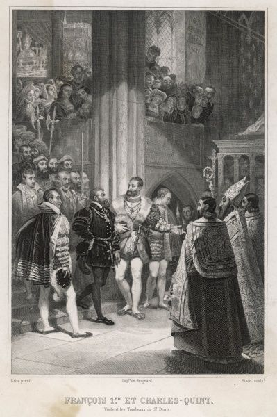 Forced to make peace, rival monarchs emperor Carl V and Francois I put on a show of friendship : Francois takes Carl to visit the royal tombs at Saint-Denis