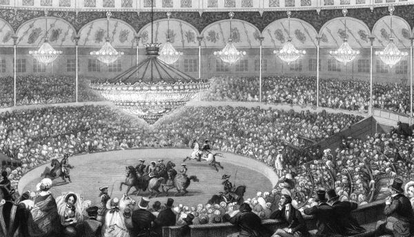 Circus riders perform to a full audience at Franconi's Circus, Paris. Date: circa 1840