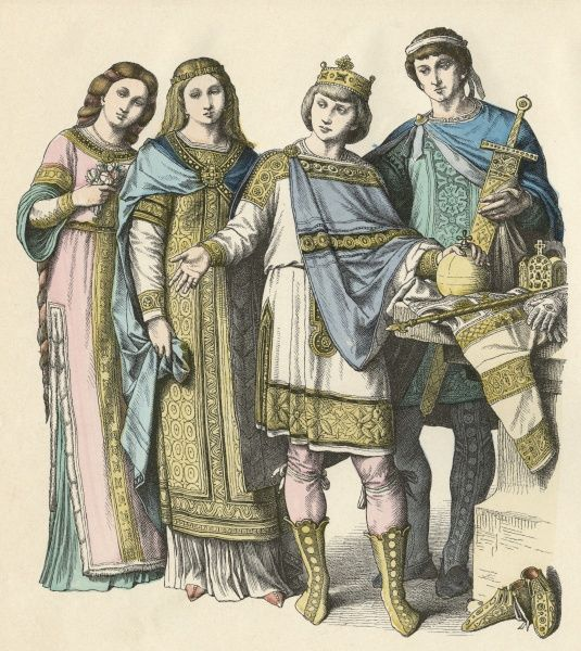 Frankish nobles - a king, a high official and two ladies. The East Franks inhabited present-day Germany, the West Franks present-day France Date: Ninth century