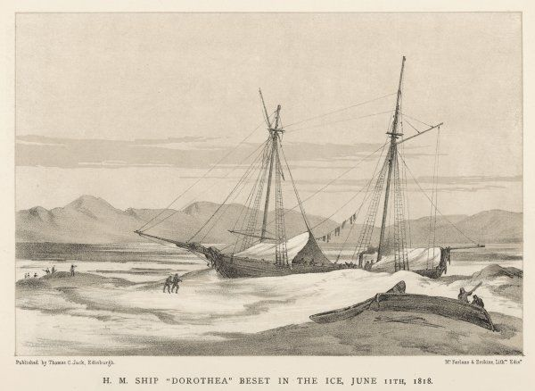 Lieutenant John Franklin on his first expedition: the 'Dorothea icebound not far from Spitsbergen. The expedition did bring back some valuable charts