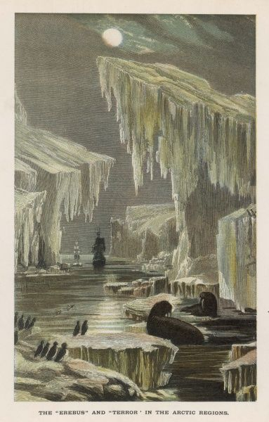 The 'Erebus' and 'Terror' seek the Northwest Passage through the Arctic ice on the fated Franklin polar expedition