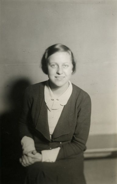 "Undated photograph of Fraulein Urta Bohn, who took the past of the ""maiden pure in heart"" at the black magic experiment conducted by Harry Price on the Brocken, Germany (the ""Brocken Experiment""). HPG/1/12/1 (ii)&quot"