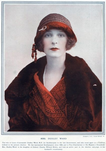 WINIFRED FREDA DUDLEY WARD, NEE BIRKIN was the mistress of the Duke of Windsor when he was Prince of Wales and widely acknowledged as his first great love. She divorced her first husband and married Pedro, Marquess de Casa Maury
