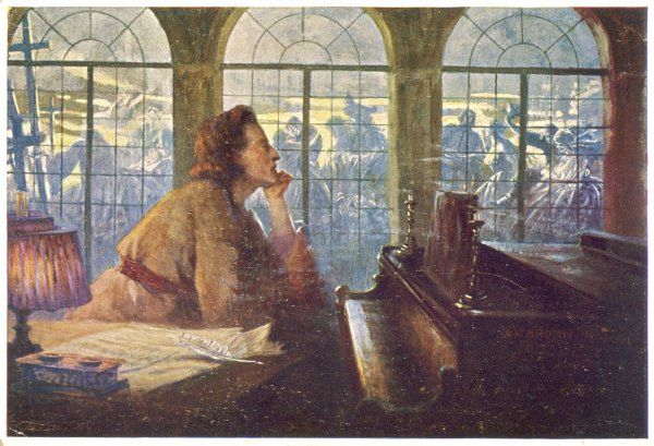 FREDERIC CHOPIN Polish musician composing his Nocturne opus 9 number 2 Date: 1810 - 1849