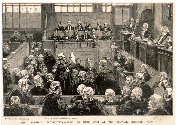 The 'Freiheit' prosecution - trial of Herr Johann Most at the Cebtral Criminal Court (Old Bailey). Mr A M Sullivan (Counsel for the Defence) is speaking
