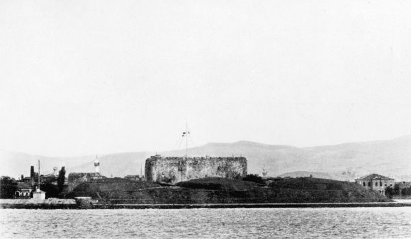 Gallipoli coast with fortress during World War I