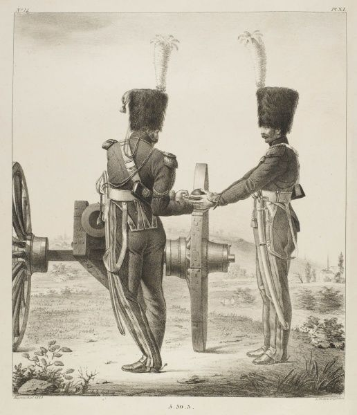 Charging a French muzzle- loading 'obusier' from the Napoleonic era (1802/3) : a gunner of the horse artillery of the French Garde Royale passes a ball to his mate