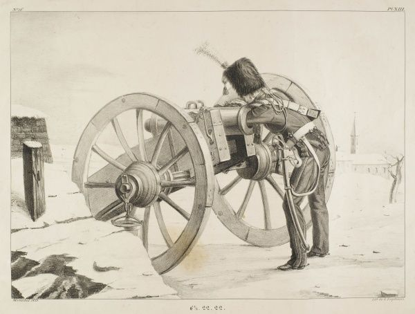 A gunner of the horse artillery of the French Garde Royale positions a ball in the barrel of a French muzzle-loading 'obusier' from the Napoleonic era (1802/3)