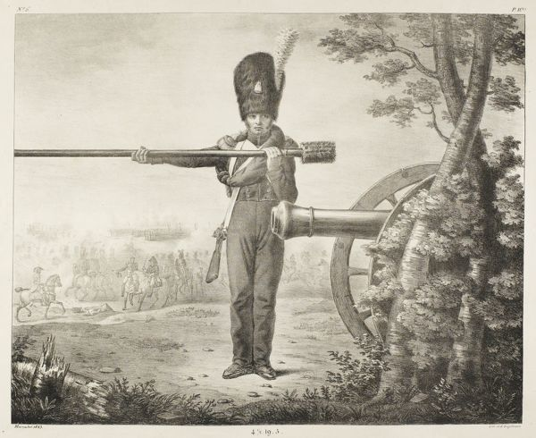 An artilleryman of the foot artillery of the French Garde Royale stands beside his Gribeauval cannon on the battlefield, holding the ramrod with which he loads it