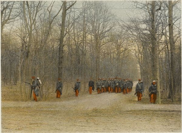 When a French regiment is on the march, the avant-garde precede the main body, and are themselves preceded by 'eclaireurs' who look out for obstacles and signs of the foe
