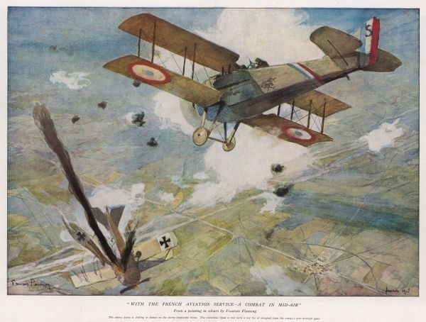With the French Aviation Service - A Mid Air Compbat, showing a dogfight between French and German planes