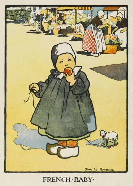 A typically French child in a long and flappy gown, wearing a white little cap and clogs and eating an apple. There is a flower market in the background