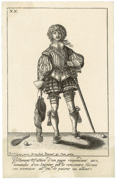 French page in sporty gear including flamboyant hat,and sword ready to pick up the stray balls of his master's game