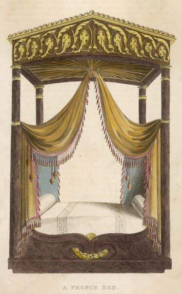 A French Bed: Ornate four-poster with pediment style canopy, fringed drapery and bolster pillows