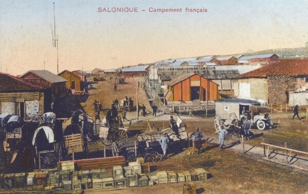 The French army camp - Thessaloniki, Greece. This fascinating card has a strong historical interest - In 1915, during World War I, a large Allied expeditionary force landed at Thessaloniki as the base for operations against pro-German Bulgaria
