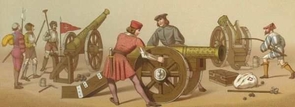 French artillery - two guns and a mortar Date: 16th century