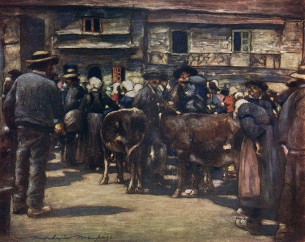 A cattle market in Brittany, France. Date: 1905