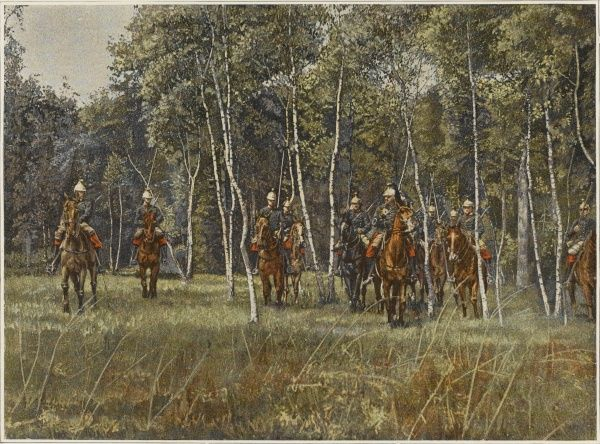French cavalry make use of cover as they advance on the enemy. Trees may hamper progress but they provide protection and conceal movement