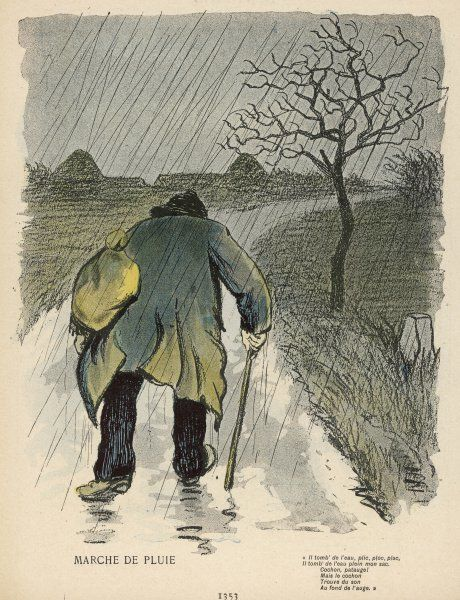 An old French chemineau makes his way along a never-ending country road, in the pouring rain