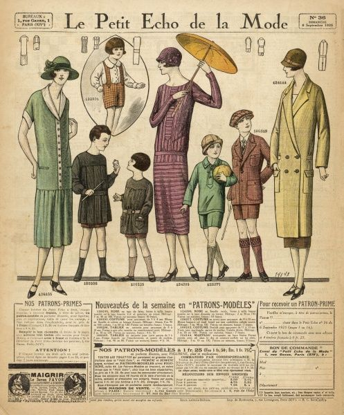 French children (with their mothers) in styles ranging from the traditional French child's schoolwear to an amazing boy's outfit with shorts, long socks and cap