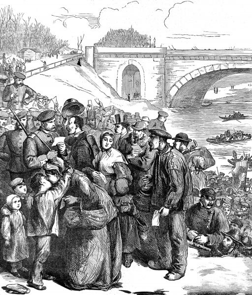 Illustration showing the scene at the Ferry of Sevres on the River Seine as Parisians went to the Prussian lines with dockets in their hands to exchange for bread. The Siege of Paris by the Prussian Army lasted for 4 months, ending in March 1871