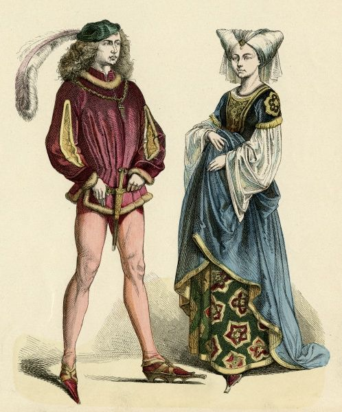 Two elegant nobles - he with slashed sleeves, long plumed cap, and a dagger at his crutch, she in gown with ornate under skirt Date: circa 1475